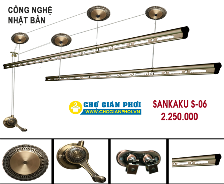 Giàn phơi thông minh Sankaku S-06