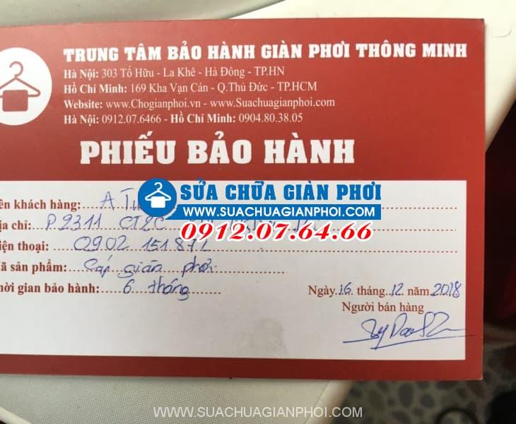 Phiếu sửa chữa bảo hành giàn phơi nhà Anh Tuấn